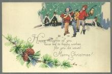 Vintage Merry Christmas Postcard with Carolers and Smowy Town 1933