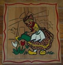 Wooden Frame Tray Puzzle With Little Dutch Girl Watering Tulips