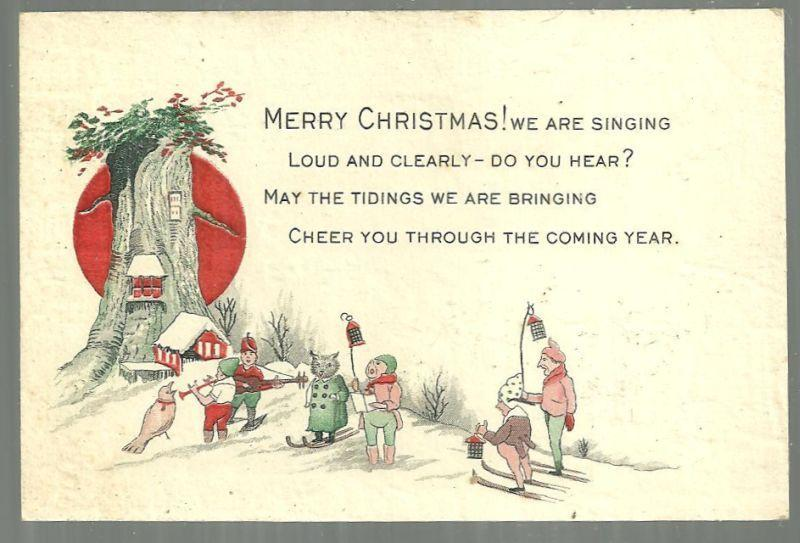 Vintage Merry Christmas Card with Elf Carolers and Skiers in Snowy Tree Village