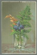 Victorian Christmas Card with Greenery Bouquet in Clear Glass Loving Christmas