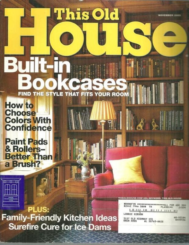 This Old House Magazine November 2003 Built-in Bookcases on the Cover