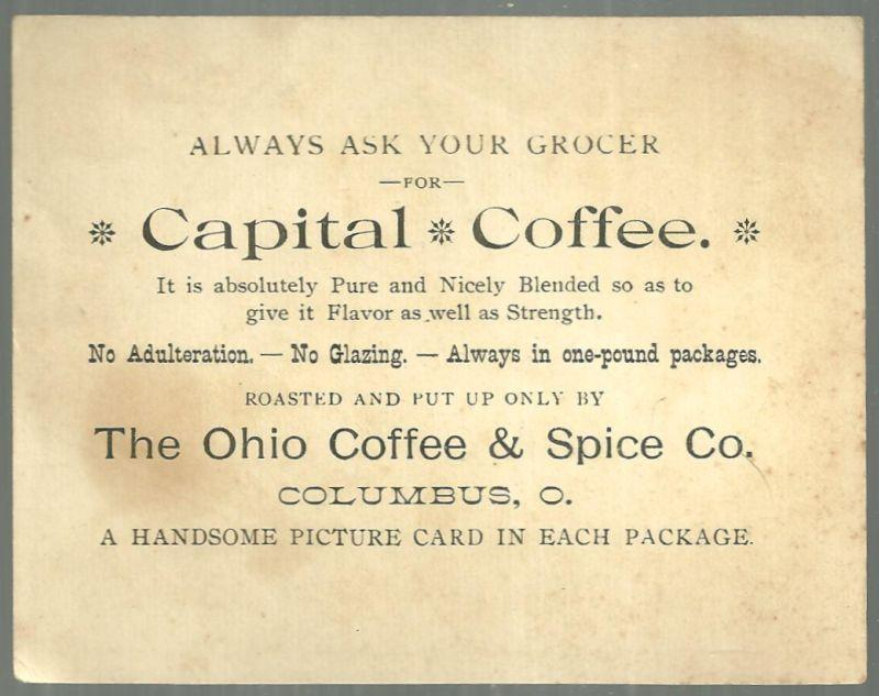 Victorian Trade Card for Capital Coffee With Snowy House and Holly