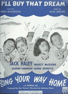 I'll Buy That Dream Jack Haley Musical 1945 Sheet Music