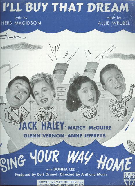 I'll Buy That Dream Jack Haley Musical 1945 Sheet Music