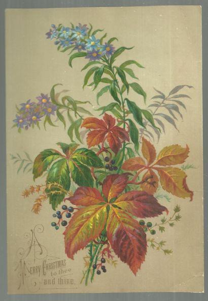 Victorian Christmas Card with Leafy Bouquet Merry Christmas to Thee and Thine