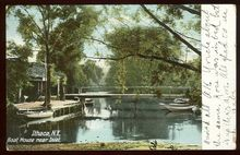 Boat House Near Inlet, Ithaca, New York 1908 Postcard