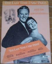 Last Time I Saw Paris Starring Elizabeth Taylor, Van Johnson 1940 Sheet Music