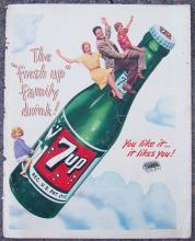 1948 Life Magazine 7-UP The Fresh-Up Family Drink Color Magazine Advertisement