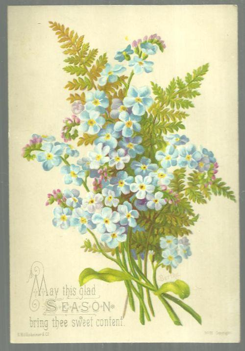 Victorian Christmas Card with Blue Floral Bouquet This Glad Season