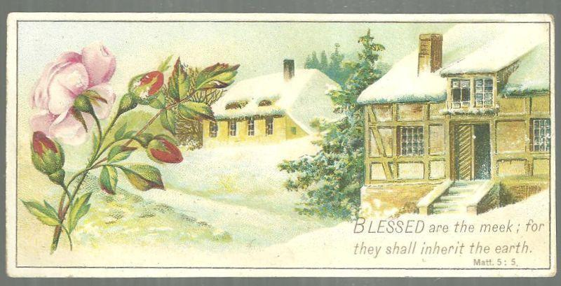 Victorian Prayer Card with Snowy Landscape and Pink Rose Blessed Are the Meek