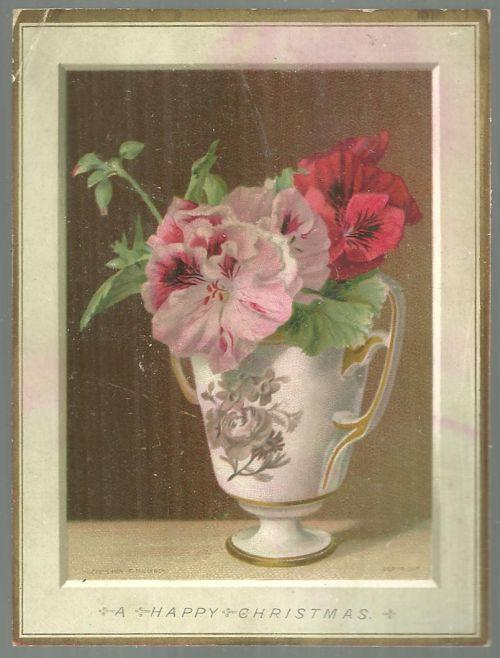Victorian Christmas Card Floral Bouquet in Vase H. M. Burnside Christmas Poem
