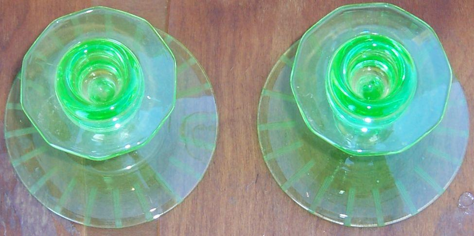 Vintage Pair of Etched Deco Green Glass Candlesticks