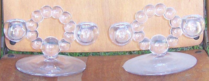 Vintage Pair of Imperial Glass Candlewick Twin Candlesticks