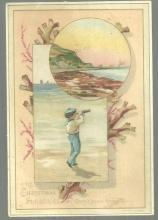 Victorian S. Hildesheimer Christmas Card Boy With Telescope Looking Out to Sea