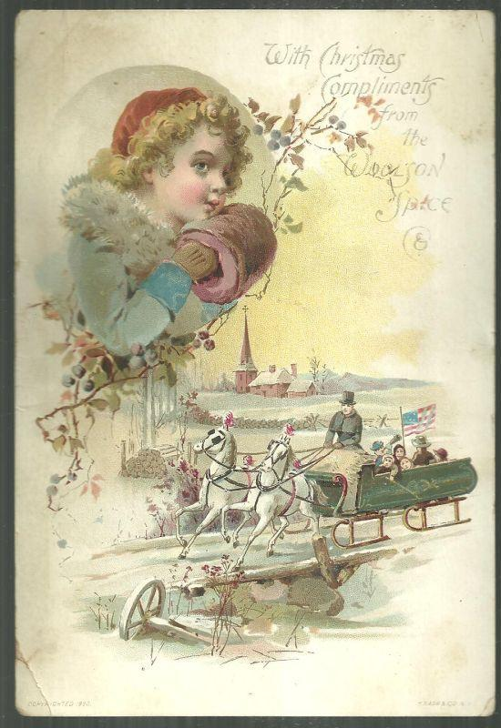 Victorian Trade Card For Lion Coffee With Christmas Compliments Sledding w/Girl
