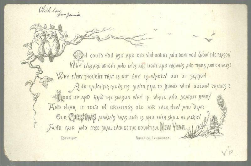 Victorian Christmas Card Glittery Snowy Landscape w/Frederick Langbridge Poem
