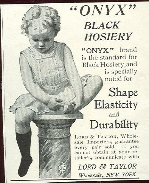 Onyx Black Hosiery Lord and Taylor 1901 Magazine Advertisement