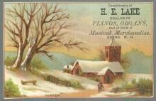 Victorian Trade Card H. E. Lake Pianos and Organs Keene, NH with Winter Scene