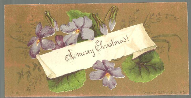Victorian L. Prang Christmas Card with Violets on a Gold Background 1877