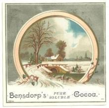 Victorian Trade Card for Bensdorp's Pure Soluble Cocoa With Winter Scene