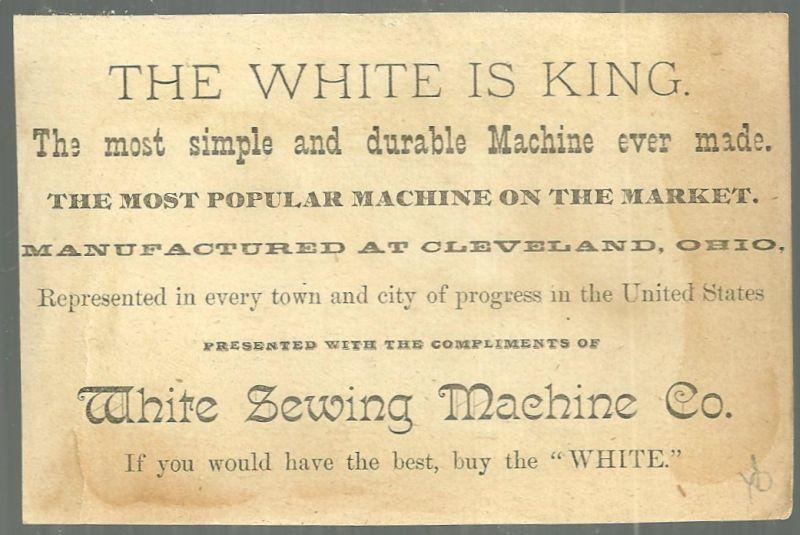 Victorian Trade Card for White Sewing Machine with Snowy Landscape in Leaf