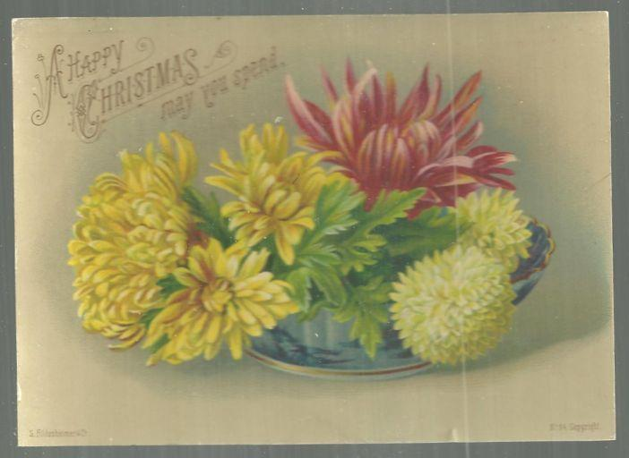Victorian S. Hildesheimer Christmas Card Large Floral Bouquet A Happy Christmas