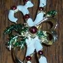 Vintage Enamel Candy Cane Pin with Red Ornaments and Green Evergreen Bow