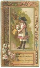 Victorian Trade Card for Brown and Maybury with Little Girl, Holiday Goods 1885