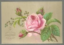 Victorian S. Hildesheimer Christmas Card I Send a Rose at Christmas With My Love