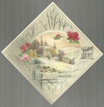 Victorian Reward of Merit Card with Snowy Church Landscape with Roses