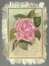 Victorian Christmas Card with Large Pink Rose and Fringe Season's Best Wishes