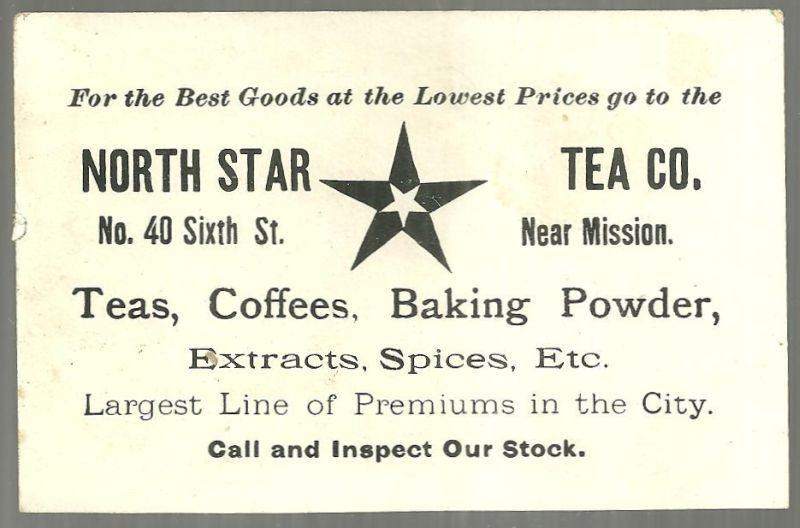Victorian Trade Card for North Star Tea Co., with Snowy House Landscape