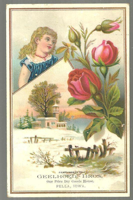 Victorian Trade Card for Geelhoed Bros Pella Iowa Snowy Landscape Roses and Girl