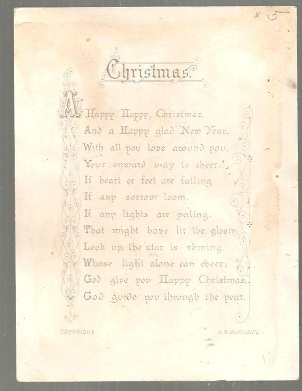 Victorian Hildesheimer and Faulkner Christmas Card with Burnside Christmas Poem