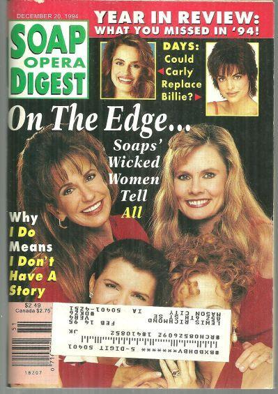Soap Opera Digest Magazine December 20, 1994 Soaps Wicked Women on the Cover