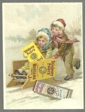 Victorian Trade Card for Stickney and Poor's Mustards with Children Sledding