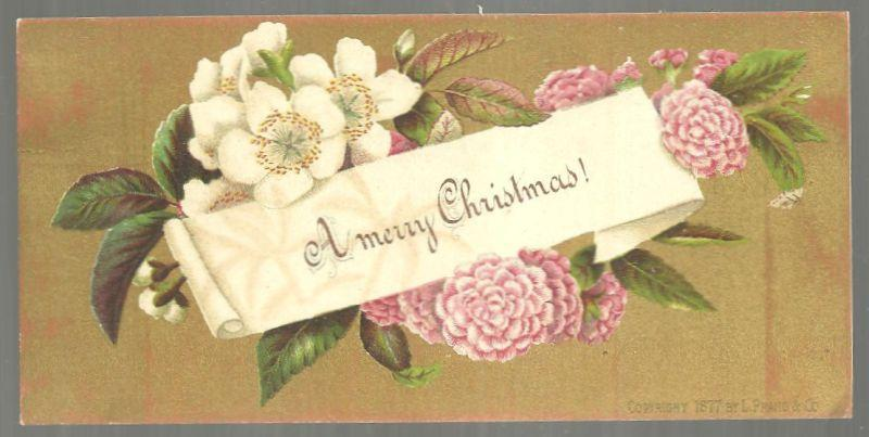 Victorian L. Prang Christmas Card with Flowers on a Gold Background 1877