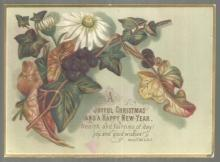 Victorian Christmas Card Leaves and Flowers Joyful Christmas and Happy New Year