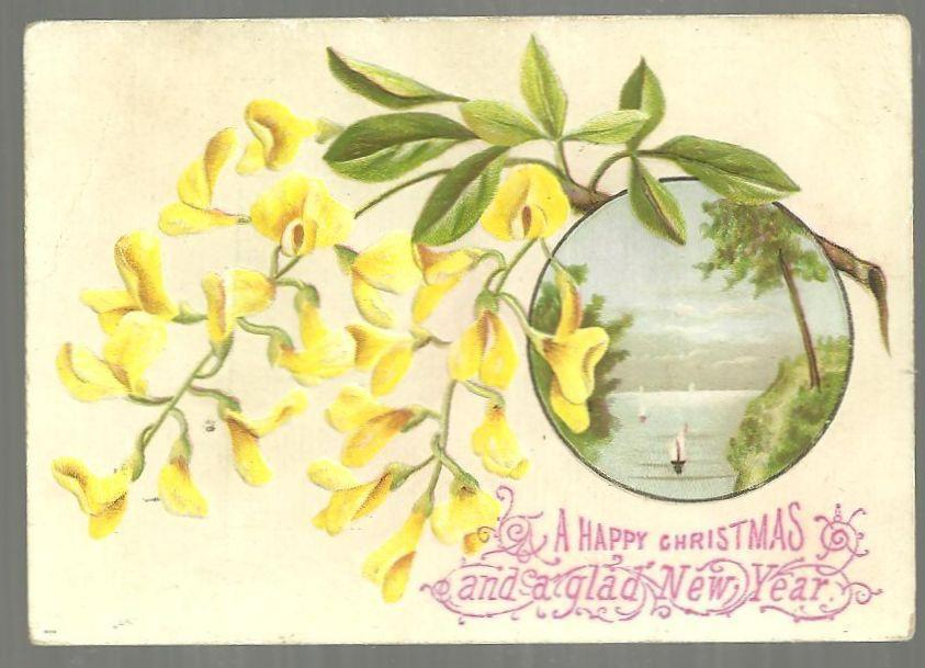 Victorian Christmas Card Yellow Flowers Surrounding Sailboats A Happy Christmas