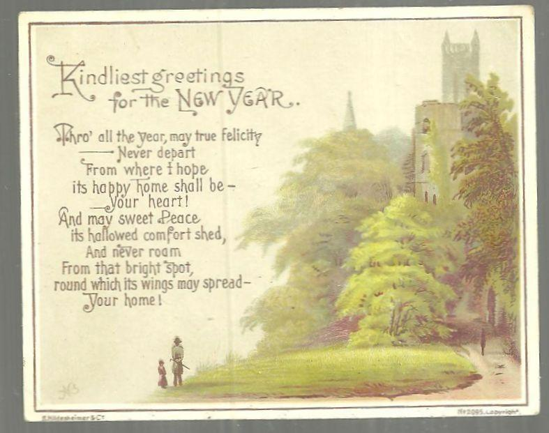 Victorian New Year Greeting Card Kindliest Greetings for the New Year w/ Castle