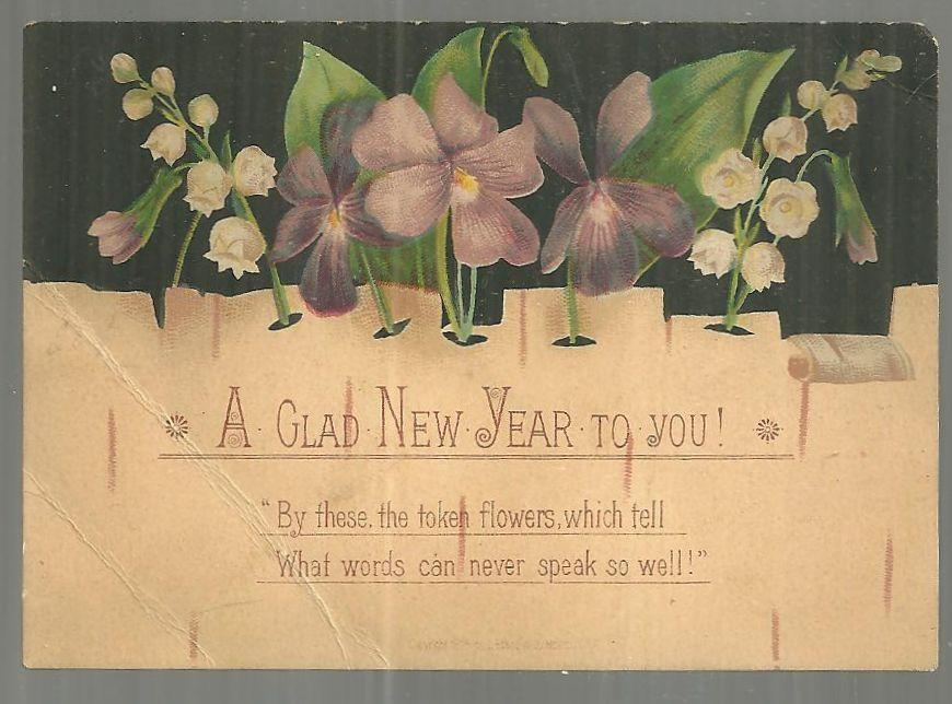 Victorian New Year Greeting Card A Glad New Year to You with Violets