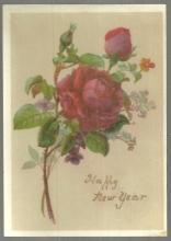 Victorian New Year Greeting Card Happy New Year With Red Rose