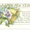 A Happy New Year Postcard with Flowers and Bells 1934