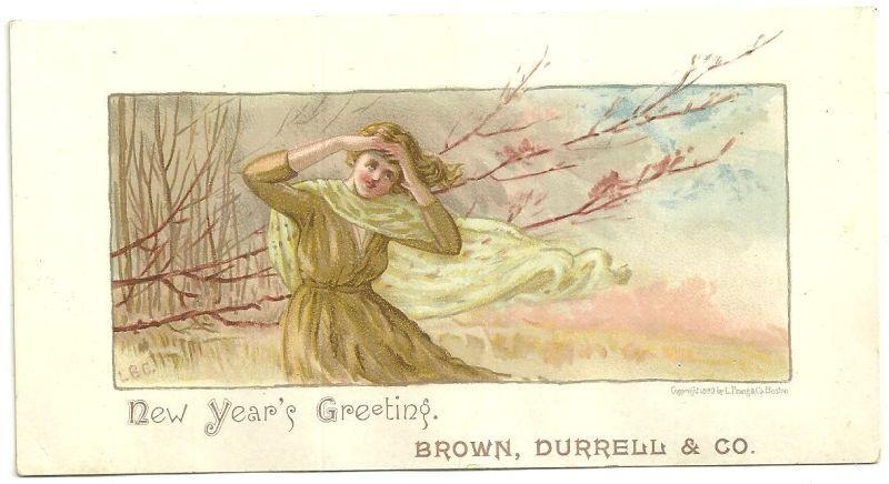 Victorian L. Prang New Year Card with Lovely Lady From Brown, Durrell & Co.