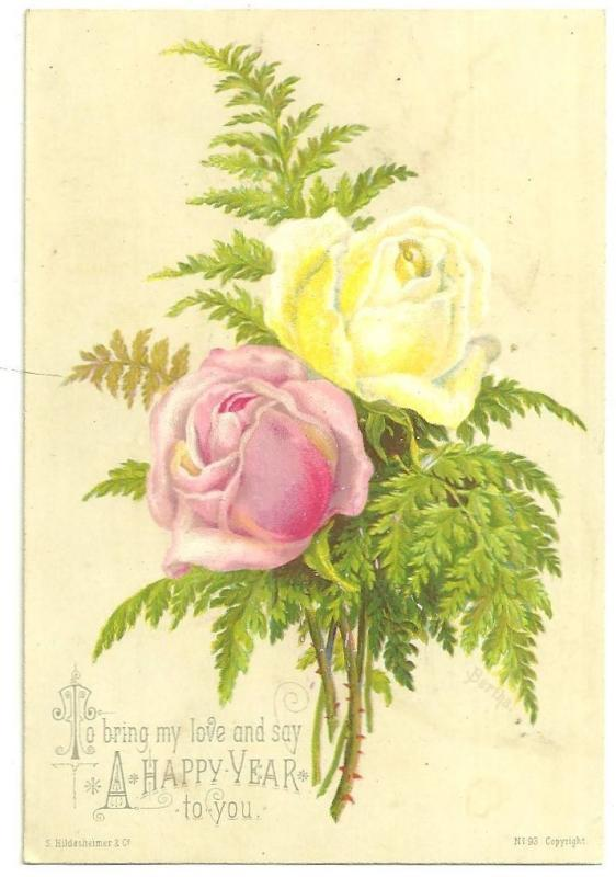 Victorian S. Hildesheimer New Year Card with Pink and Yellow Roses