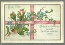 Victorian Eyre and Spottiswoode New Year Card with Pink Roses and Ribbon