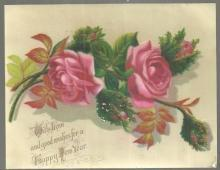 Victorian New Year Greeting Card with Pink Roses With Love and Good Wishes