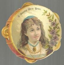 Victorian New Year Die Cut Card Tambourine Shaped Card with Lovely Lady