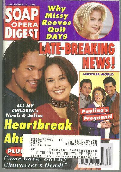 Soap Opera Digest Magazine December 19, 1995 Heartbreak Ahead for Noah and Julia