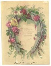 Victorian New Year Greeting Card With Horseshoe and Roses May Loving Hands Unite